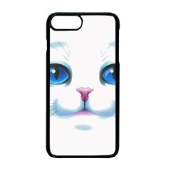 Cute White Cat Blue Eyes Face Apple Iphone 7 Plus Seamless Case (black) by Amaryn4rt