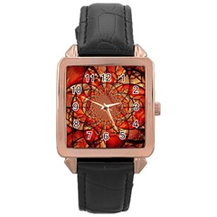 Dreamcatcher Stained Glass Rose Gold Leather Watch