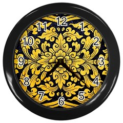 Flower Pattern In Traditional Thai Style Art Painting On Window Of The Temple Wall Clocks (black) by Amaryn4rt