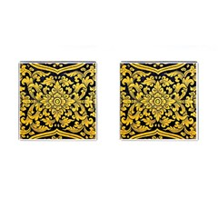 Flower Pattern In Traditional Thai Style Art Painting On Window Of The Temple Cufflinks (square) by Amaryn4rt