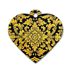 Flower Pattern In Traditional Thai Style Art Painting On Window Of The Temple Dog Tag Heart (one Side)