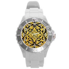 Flower Pattern In Traditional Thai Style Art Painting On Window Of The Temple Round Plastic Sport Watch (l) by Amaryn4rt