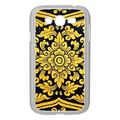 Flower Pattern In Traditional Thai Style Art Painting On Window Of The Temple Samsung Galaxy Grand Duos I9082 Case (white) by Amaryn4rt
