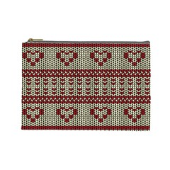 Stitched Seamless Pattern With Silhouette Of Heart Cosmetic Bag (large)