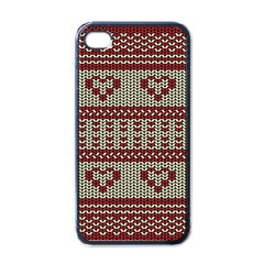 Stitched Seamless Pattern With Silhouette Of Heart Apple Iphone 4 Case (black)
