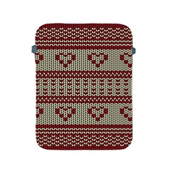 Stitched Seamless Pattern With Silhouette Of Heart Apple Ipad 2/3/4 Protective Soft Cases