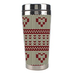 Stitched Seamless Pattern With Silhouette Of Heart Stainless Steel Travel Tumblers by Amaryn4rt