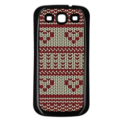 Stitched Seamless Pattern With Silhouette Of Heart Samsung Galaxy S3 Back Case (black) by Amaryn4rt