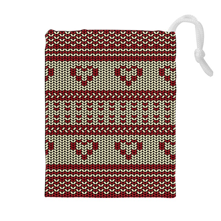 Stitched Seamless Pattern With Silhouette Of Heart Drawstring Pouches (Extra Large)