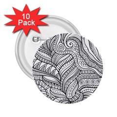 Zentangle Art Patterns 2 25  Buttons (10 Pack)