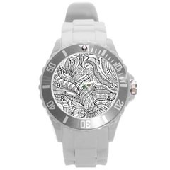 Zentangle Art Patterns Round Plastic Sport Watch (l) by Amaryn4rt