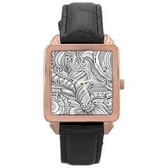 Zentangle Art Patterns Rose Gold Leather Watch  by Amaryn4rt