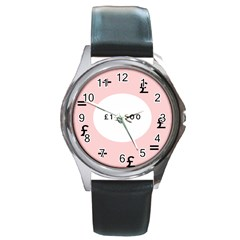 Added Less Equal With Pink White Round Metal Watch by Alisyart