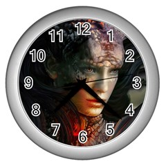 Digital Fantasy Girl Art Wall Clocks (silver)  by Onesevenart