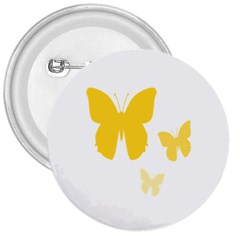 Yellow Butterfly Animals Fly 3  Buttons by Alisyart