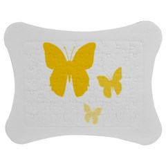 Yellow Butterfly Animals Fly Jigsaw Puzzle Photo Stand (bow) by Alisyart