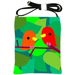 Animals Birds Red Orange Green Leaf Tree Shoulder Sling Bags by Alisyart