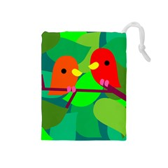 Animals Birds Red Orange Green Leaf Tree Drawstring Pouches (medium)  by Alisyart