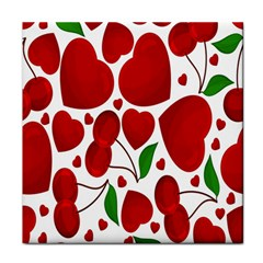 Cherry Fruit Red Love Heart Valentine Green Tile Coasters by Alisyart