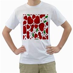Cherry Fruit Red Love Heart Valentine Green Men s T-Shirt (White) (Two Sided)