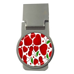 Cherry Fruit Red Love Heart Valentine Green Money Clips (round)  by Alisyart