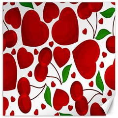 Cherry Fruit Red Love Heart Valentine Green Canvas 12  X 12