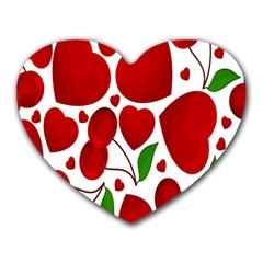 Cherry Fruit Red Love Heart Valentine Green Heart Mousepads by Alisyart