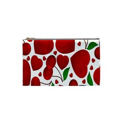 Cherry Fruit Red Love Heart Valentine Green Cosmetic Bag (small)  by Alisyart