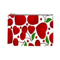 Cherry Fruit Red Love Heart Valentine Green Cosmetic Bag (large)  by Alisyart