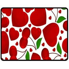 Cherry Fruit Red Love Heart Valentine Green Fleece Blanket (medium)  by Alisyart