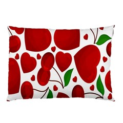 Cherry Fruit Red Love Heart Valentine Green Pillow Case (two Sides) by Alisyart