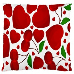 Cherry Fruit Red Love Heart Valentine Green Large Cushion Case (two Sides) by Alisyart