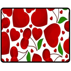 Cherry Fruit Red Love Heart Valentine Green Double Sided Fleece Blanket (medium)  by Alisyart