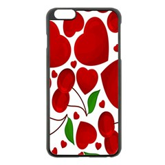 Cherry Fruit Red Love Heart Valentine Green Apple Iphone 6 Plus/6s Plus Black Enamel Case