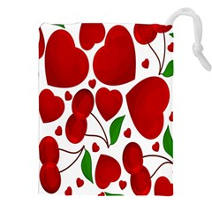 Cherry Fruit Red Love Heart Valentine Green Drawstring Pouches (xxl) by Alisyart