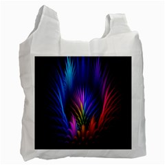Bird Feathers Rainbow Color Pink Purple Blue Orange Gold Recycle Bag (one Side) by Alisyart