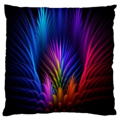 Bird Feathers Rainbow Color Pink Purple Blue Orange Gold Large Cushion Case (two Sides) by Alisyart