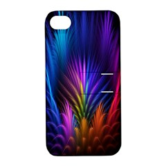 Bird Feathers Rainbow Color Pink Purple Blue Orange Gold Apple Iphone 4/4s Hardshell Case With Stand by Alisyart