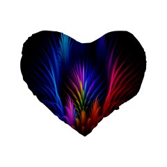 Bird Feathers Rainbow Color Pink Purple Blue Orange Gold Standard 16  Premium Flano Heart Shape Cushions by Alisyart