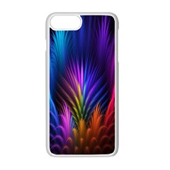 Bird Feathers Rainbow Color Pink Purple Blue Orange Gold Apple Iphone 7 Plus White Seamless Case