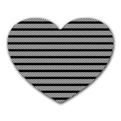 Black White Line Fabric Heart Mousepads by Alisyart