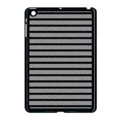 Black White Line Fabric Apple Ipad Mini Case (black) by Alisyart