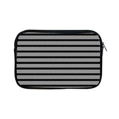 Black White Line Fabric Apple Ipad Mini Zipper Cases by Alisyart