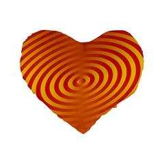 Circle Line Orange Hole Hypnotism Standard 16  Premium Heart Shape Cushions