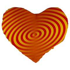 Circle Line Orange Hole Hypnotism Large 19  Premium Heart Shape Cushions by Alisyart