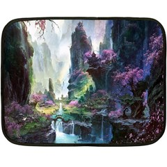 Fantastic World Fantasy Painting Fleece Blanket (mini) by Onesevenart