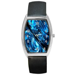 Blue Wave Barrel Style Metal Watch by Alisyart