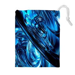 Blue Wave Drawstring Pouches (extra Large)