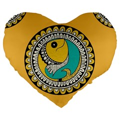Madhubani Fish Indian Ethnic Pattern Large 19  Premium Flano Heart Shape Cushions by Onesevenart
