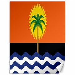 Coconut Tree Wave Water Sun Sea Orange Blue White Yellow Green Canvas 12  X 16